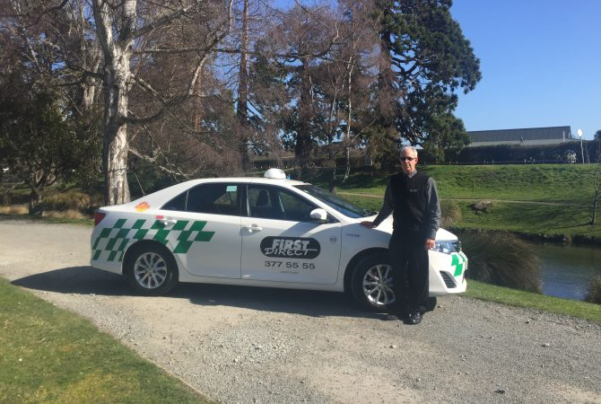 First Direct Taxi and Driver at Christchurch Central Park