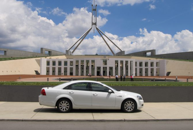 Canberra Hire Car parked at Parliament House